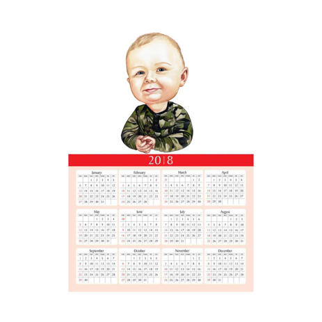 Toddler Caricature from Photos as Calendar - example