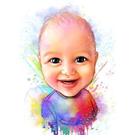 Funny Baby Cartoon Portrait from Photo in Watercolor Style - example