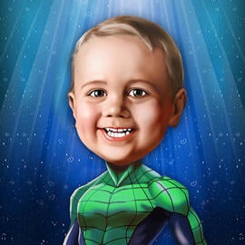 Superhero Kid Caricature from Photos in Digital Style
