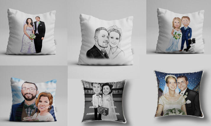 Wedding Caricature Pillows large example