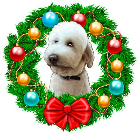 Dog Caricature Portrait in Christmas Wreath - example
