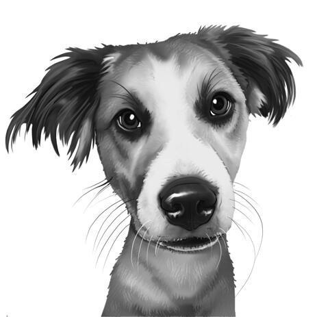 Hundkarikaturportræt i sort / hvid stil fra fotos - example