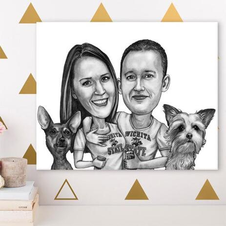 Group Pets Caricature Canvas - example