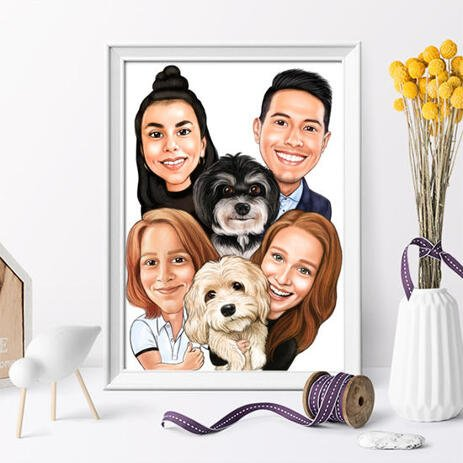 Family with Pets Caricature as Poster - example