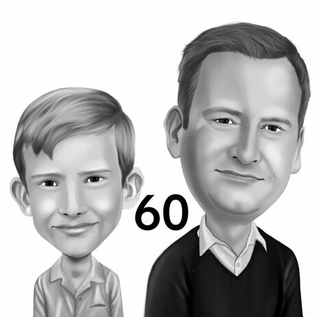 Dad with Kid Cartoon Portrait Caricature from Photos Hand Drawn in Monochrome Style - example