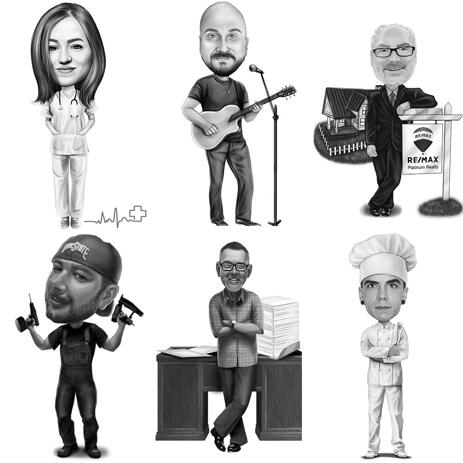Corps entier toutes professions ou passe-temps dessin de croquis de caricature en noir et blanc - example