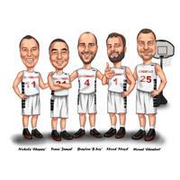 Caricature de l'équipe de basket-ball à partir de photos sur fond blanc