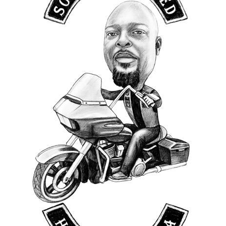 オートバイの男 - 鉛筆スケッチ写真の似顔絵 - example
