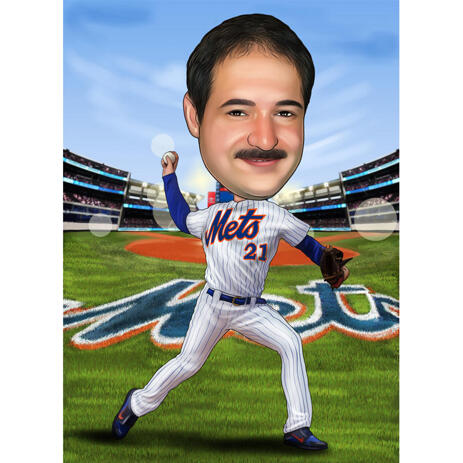 Mets Caricature from Photos for Baseball Fans - example
