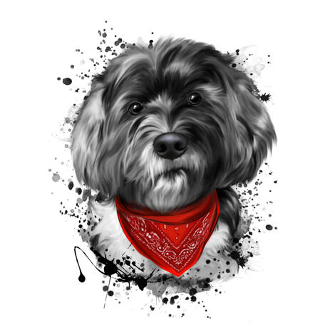 Grayscale Watercolor Bolognese Portrait with Bandana from Photos - example
