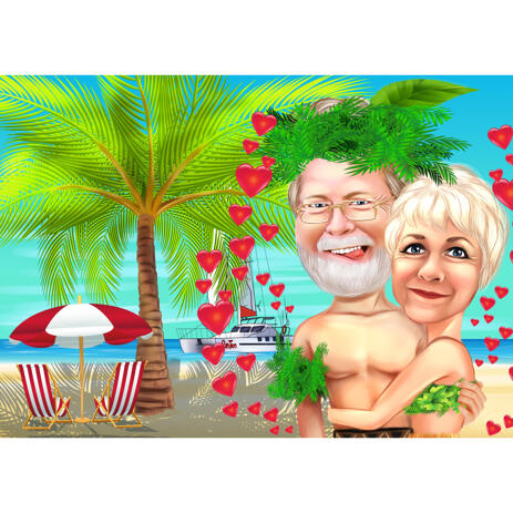 Funny Lovely Travel Vacation Couple Caricature Drawing from Photo - example