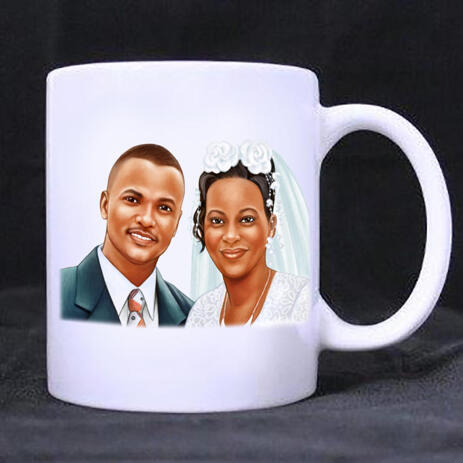Pencils Portrait of Bride and Groom on Mug Print - example