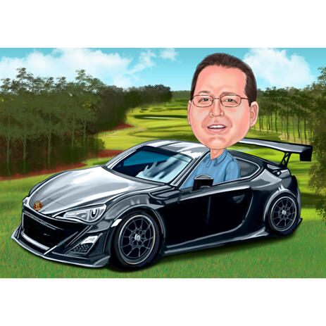 Person in Sport Car Cartoon Painting with Custom Background for Personalized Gift for Driver - example
