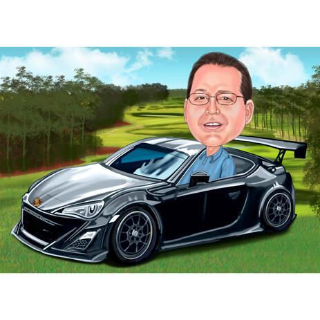 Pessoa em desenho animado de carro esporte com fundo personalizado para presente personalizado para o motorista - example