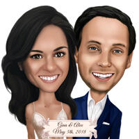 Save the Date Couple Wedding Caricature from Photos in Head and Shoulders Style