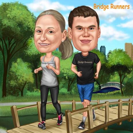 Two Persons Full Body Caricature with Custom Background - example