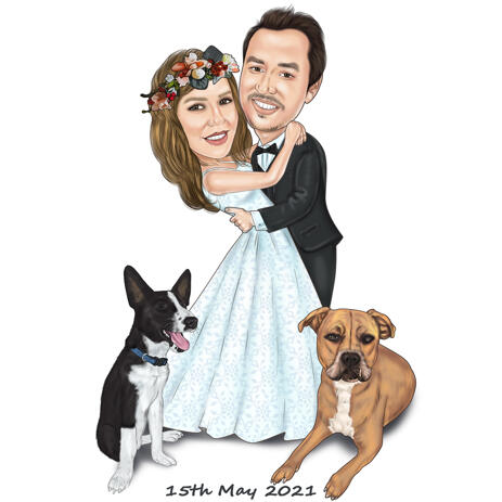 Bride and Groom with Pets Wedding Portrait on White Background - example