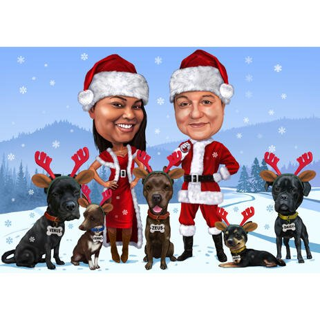 Christmas Couple Caricature with Pets Hand-Drawn from Photos - example