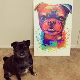 Watercolor Dog Portrait of Canvas