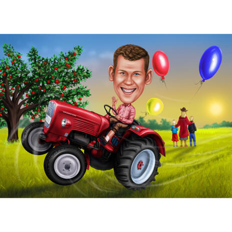 Hand Drawn Caricature Man on Tractor with Custom Background for Farmer Gift - example