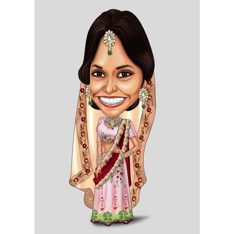 Custom Indian Bride Exaggerated Caricature from Photo on Color Background - example