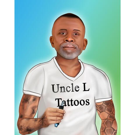 Hand-Drawn Tattoo Artist Portrait from Photos with Background - example