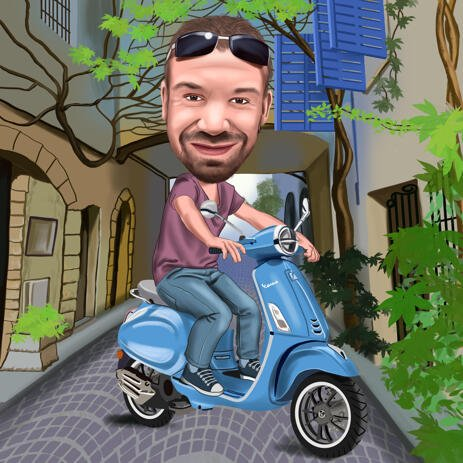 Riding Motorcycle Cartoon from Photos in Colored Digital Style - example