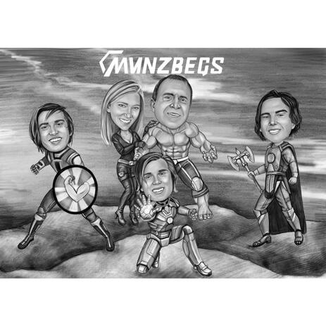 Full Body Superhero Corporate Caricature with Company's Logo in Black and White on Custom Background - example