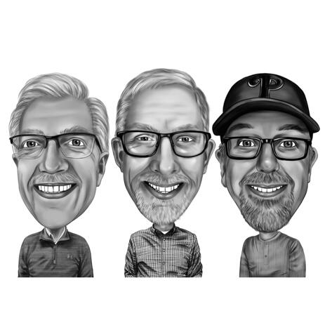 Male Friends Group Caricature Drawing in Funny Exaggerated Cartoon Style - example