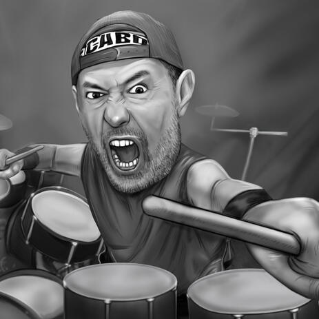 Hilarious Drummer Caricature from Photos - Custom Drummer Gift - example