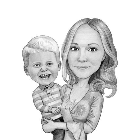 Cute Mother with Child Caricature in Black and White from Photos - example