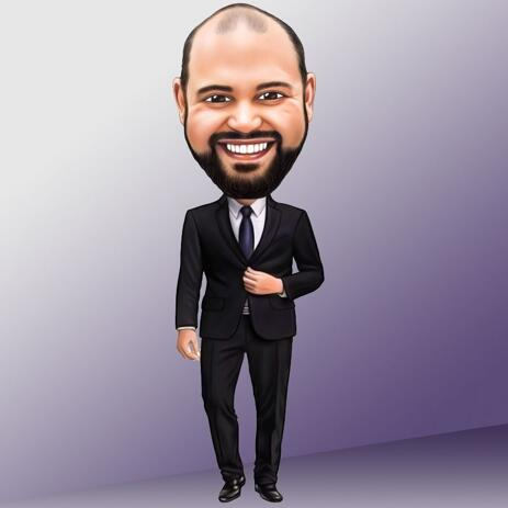 Full Body Caricature with Single Color Background - example