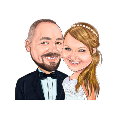 Custom Wedding and Newlywed Caricature in Colored Style from Photo - example