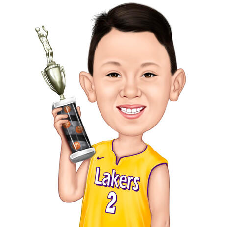 Kid Holding Trophy Award Colored Cartoon Caricature from Photo - example