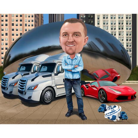 Truck Business Owner Person Caricature for Custom Transportation Company Boss Gift - example
