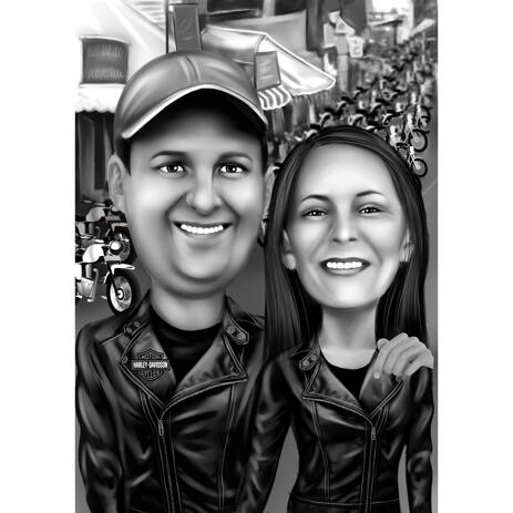 Harley Davidson Themed Couple Caricature in Black and White with Motorcycle Background - example