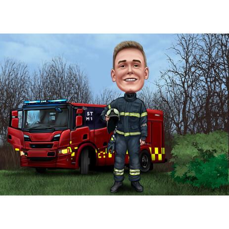 Retrato de caricatura de bombero de foto con fondo de bosque para regalo de bombero - example