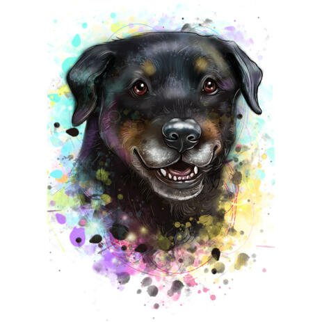 Rottweiler Dog Puppy Pet Cartoon Caricature Art Drawing in Watercolor Style from Photos - example