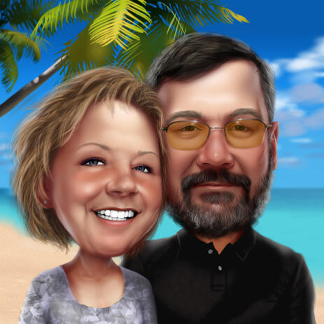 Travel Vacation Couple Head and Shoulders Caricature Drawing with Casual Outfit on Ocean Background - example