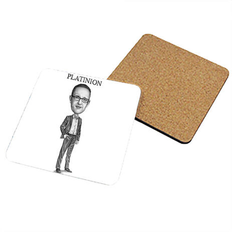 Photo coasters with Business Caricature - example