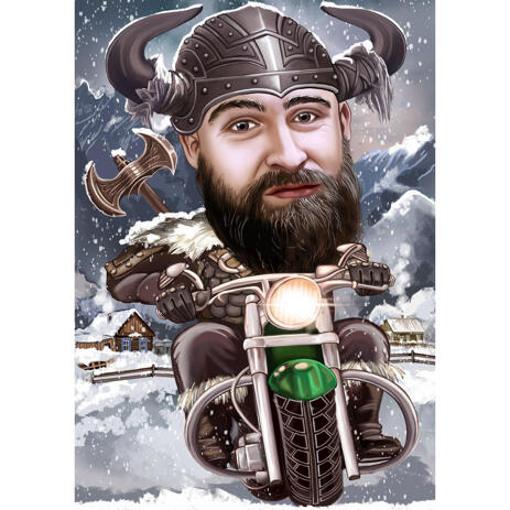 Custom Person Caricature Portrait with Winter Background for Viking Gifts Ideas - example