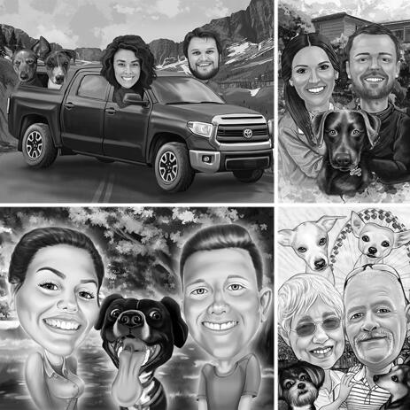 Black and White Caricature of Couple with Pets with Custom Background - example