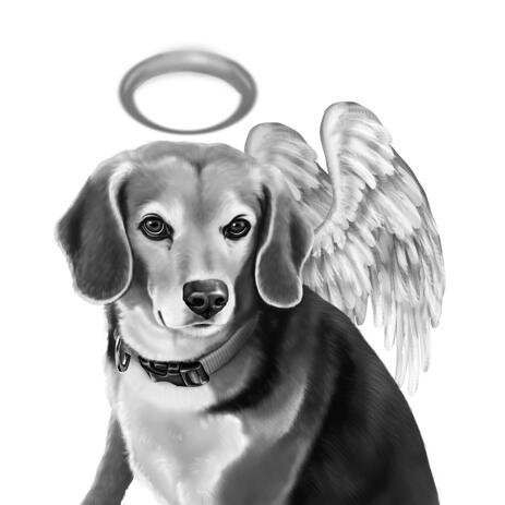Black and White Dog Memorial Portrait with Angel Wings - example
