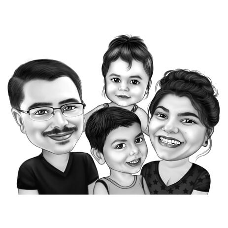 Fantastic Four Family Members Caricature in Black and White Style from Photos - example