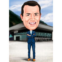 Businessman High Caricature Cartoon Drawing from Photo for Boss Day
