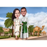 Individuelle Ganzkörper-Paar-Karikatur in Tracht von Photo