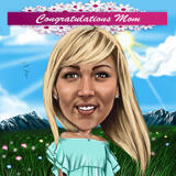 Caricature Drawing on Mother's day from Photo in Colored Digital Style