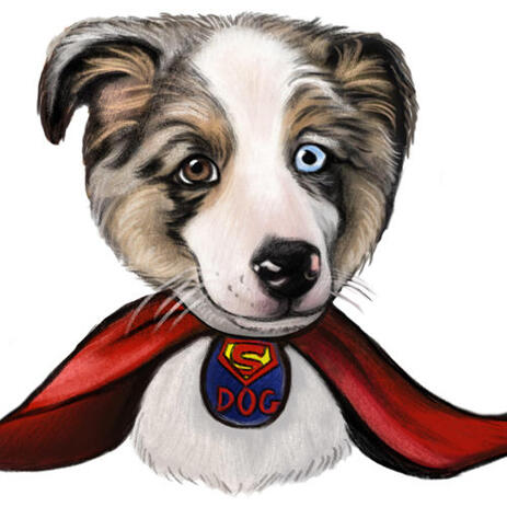 Superhero Husky Portrait Caricature as Custom Gift for Dog Lovers - example