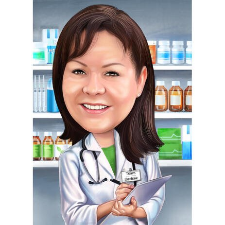 Aangepaste apothekerskarikatuur van foto's met apotheekachtergrond - example