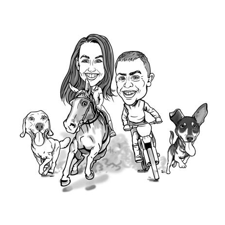 Couple with Pets Caricature in Black and White Outline Style from Photos - example